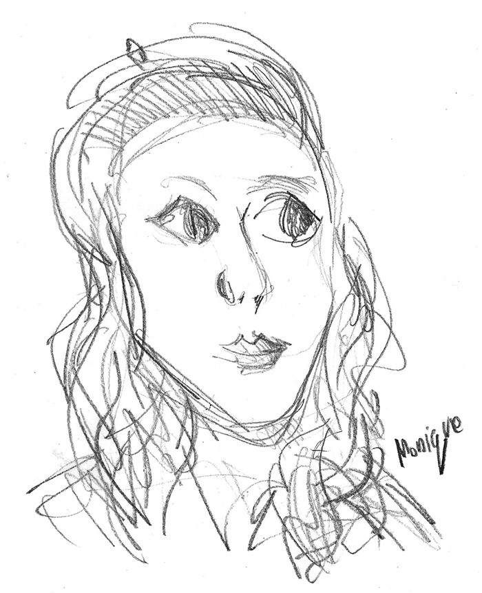 Monique's first sketch when I started writing the book
